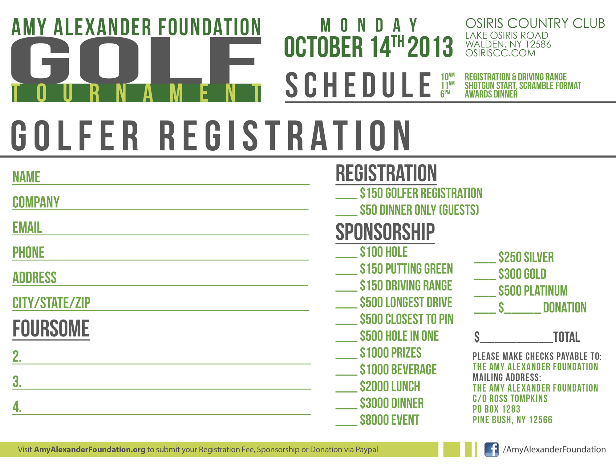 DOWNLOAD THE GOLFER REGISTRATION FORM
